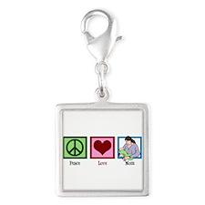 Peace Love Mom Silver Square Charm