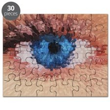 Puzzle - Computer graphic 3-D block image of a eye