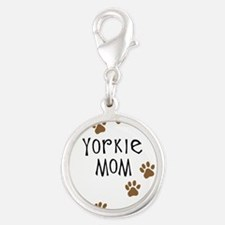 yorkie mom.png Silver Round Charm
