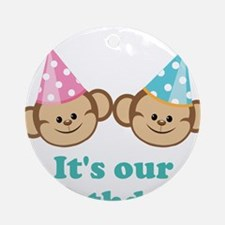Twins Birthday Monkeys Ornament (Round)