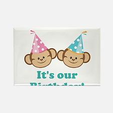 Twins Birthday Monkeys Rectangle Magnet