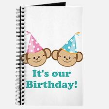 Twins Birthday Monkeys Journal