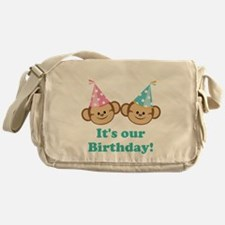 Twins Birthday Monkeys Messenger Bag