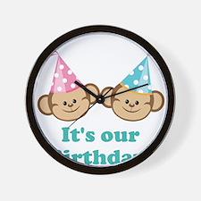 Twins Birthday Monkeys Wall Clock