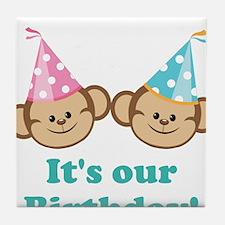 Twins Birthday Monkeys Tile Coaster