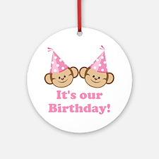 Twins Birthday Monkeys Girls Ornament (Round)
