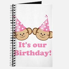 Twins Birthday Monkeys Girls Journal
