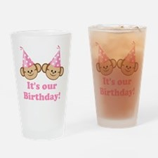 Twins Birthday Monkeys Girls Drinking Glass