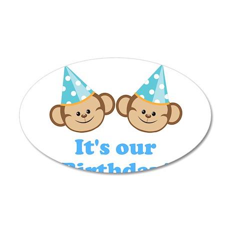 Twins Birthday Monkeys Boys Wall Decal