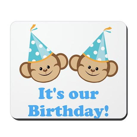 Twins Birthday Monkeys Boys Mousepad