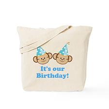 Twins Birthday Monkeys Boys Tote Bag