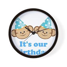 Twins Birthday Monkeys Boys Wall Clock