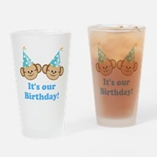 Twins Birthday Monkeys Boys Drinking Glass