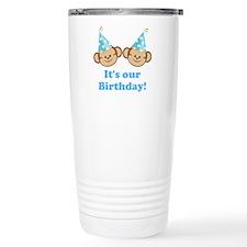 Twins Birthday Monkeys Boys Travel Mug