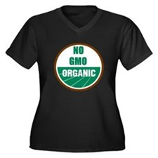 No Gmo Organic Women's Plus Size V-Neck Dark T-Shi