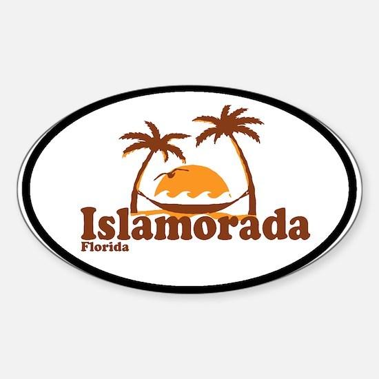 Islamorada - Palm Trees Design. Sticker (Oval)