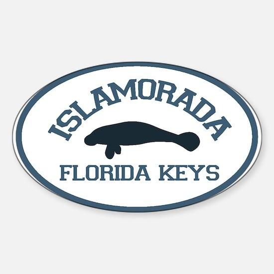Islamorada - Manatee Design. Sticker (Oval)