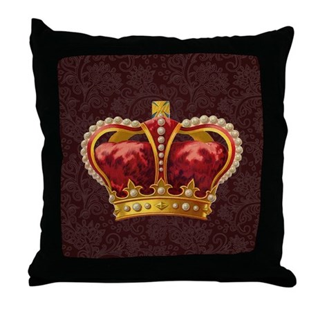 Royal Crown of Gold Throw Pillow by doodlefly