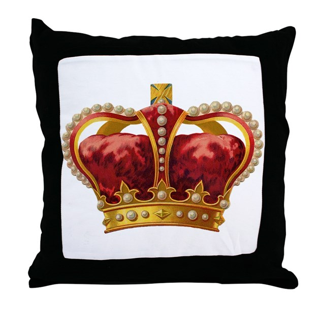 Gold Crown Throw Pillow : Vintage Royal Crown of Gold Throw Pillow by doodlefly