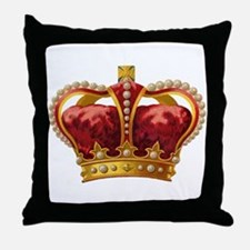 Vintage Royal Crown of Gold Throw Pillow