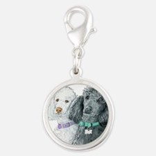 Two Poodles Silver Round Charm
