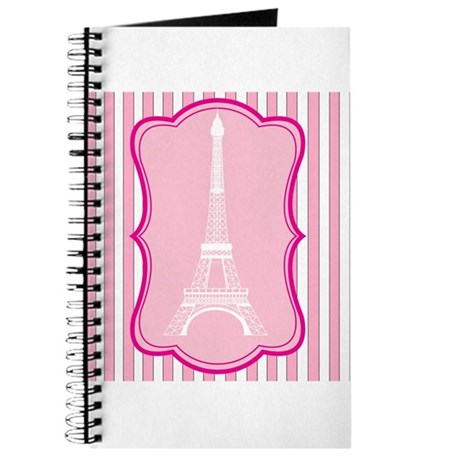Eiffel Tower on Pink and White Stripes Journal