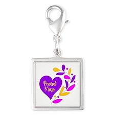 Proud Nana Heart Silver Square Charm