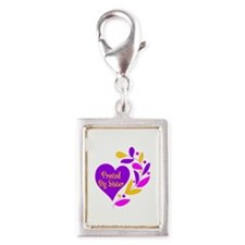 Proud Big Sister Heart Silver Portrait Charm