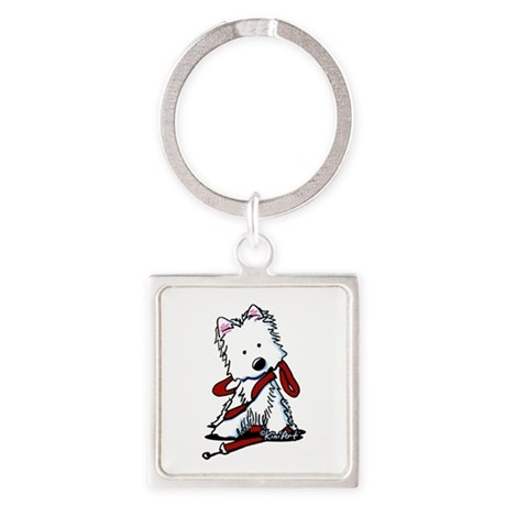 LET'S GO! Westie Square Keychain