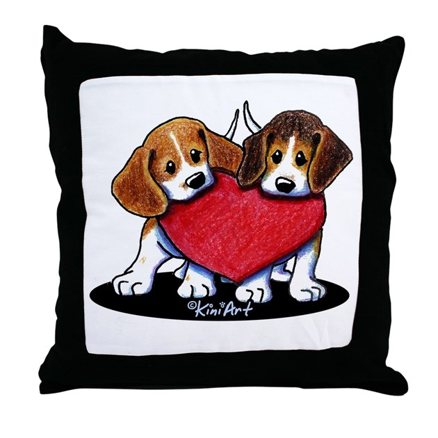 Beagle Heartfelt Duo Throw Pillow By Kiniart