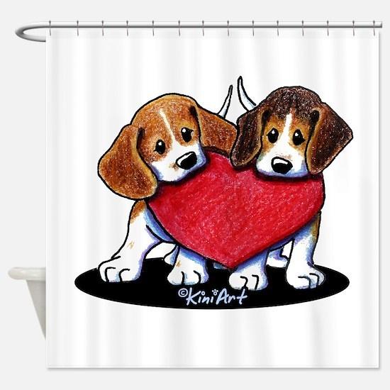 Beagle Heartfelt Duo Shower Curtain