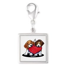 Beagle Heartfelt Duo Silver Square Charm