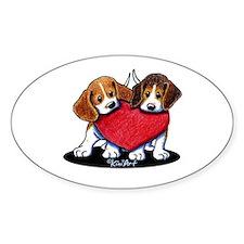 Beagle Heartfelt Duo Decal