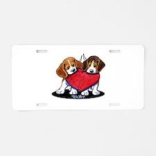 Beagle Heartfelt Duo Aluminum License Plate