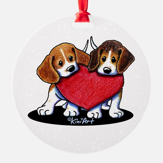 Beagle Heartfelt Duo Ornament