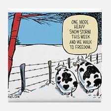 Snowbound Cattle Tile Coaster