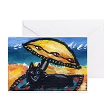 Schipperke beach eye umbrella Greeting Cards (Pack