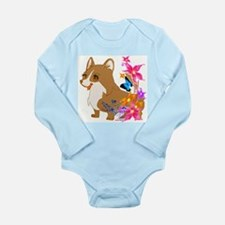 Red and White Corgi with Floral design Body Suit