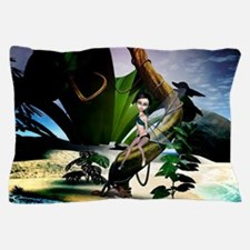 Cute fairy in the night on the beach Pillow Case