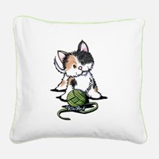 Playful Calico Kitten Square Canvas Pillow