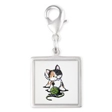 Playful Calico Kitten Silver Square Charm