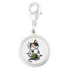 Playful Calico Kitten Silver Round Charm