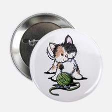 "Playful Calico Kitten 2.25"" Button"