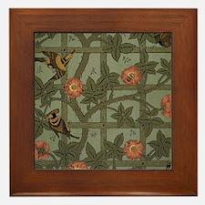 Vintage Green Floral Framed Tile