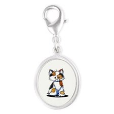 Calico Patches Silver Oval Charm