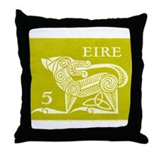 1971 Ireland Green Dog Postage Stamp Throw Pillow