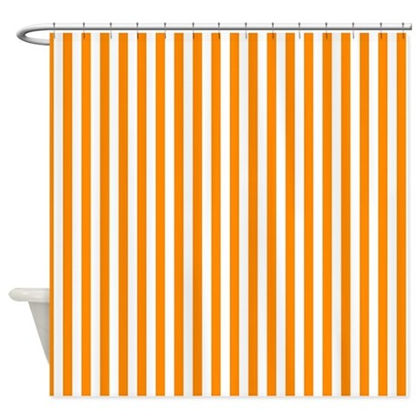 Orange Stripes Shower Curtain By Stripstrapstripes