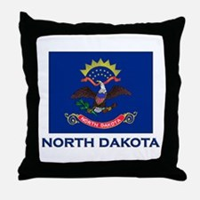 North Dakota Flag Gear Throw Pillow
