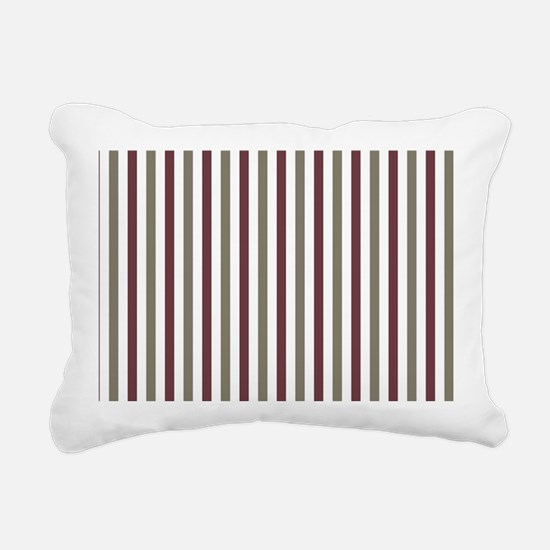 Olive and Maroon Stripes Rectangular Canvas Pillow
