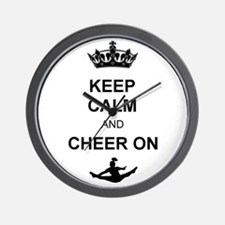 Keep Calm and Cheer on Wall Clock